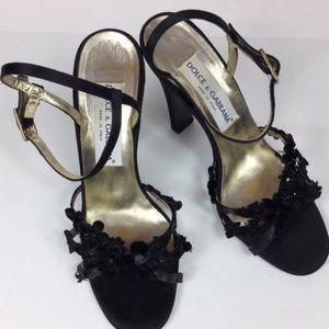 Dolce & Gabbana black strappy heels, sz 38.5